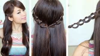 hairstyle for medium hair with one hair band chain braid headband hairstyle for medium long hair