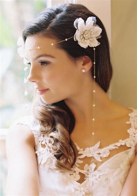 One Side Hairstyles Accessories by Wedding Bridal Side Curly Brown Hair Style Flower Pearls