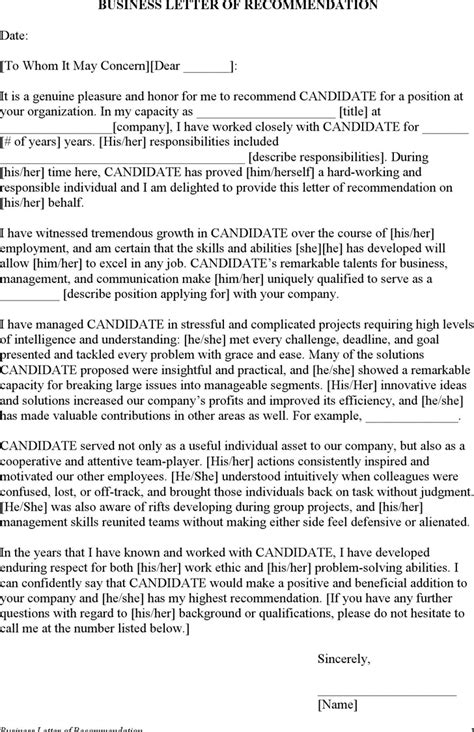 Letter Of Recommendation From Employer doc 600700 template letter of recommendation for