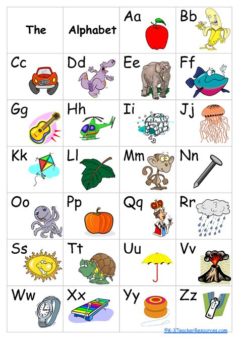 printable kindergarten alphabet chart 6 best images of printable abc charts for kindergarten