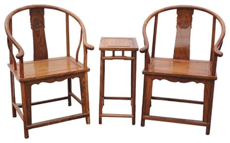 accent chair and table set pair chinese yellow brown elm wood horseshoe arm chair