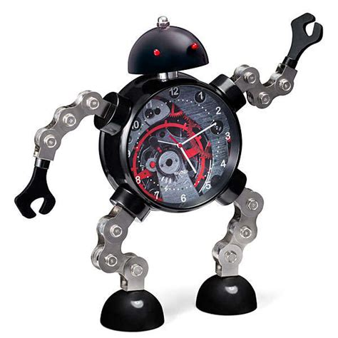 glaring robot alarm clocks articulated roboclock