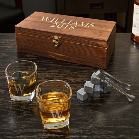 Schaefer Personalized Whiskey Stones and Glasses Gift Set