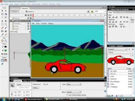 tutorial in flash flash tutorial 5a car on a moving landscape youtube