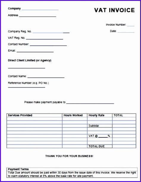 10 Free Invoice Template Uk Excel Exceltemplates Exceltemplates Vat Invoice Template Excel
