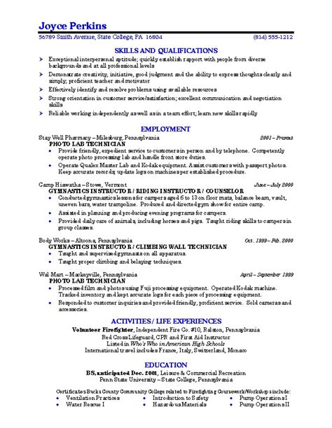 exles of resume for college students best resumes