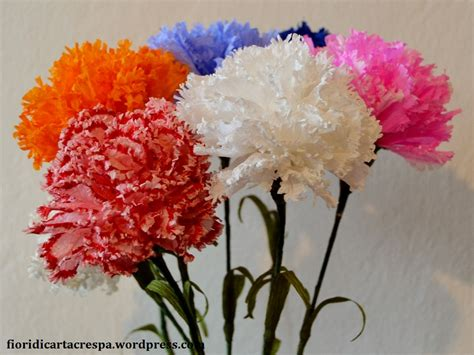 fiori di cartacrespa tutorial fiori e piante garofano bianco di carta crespa