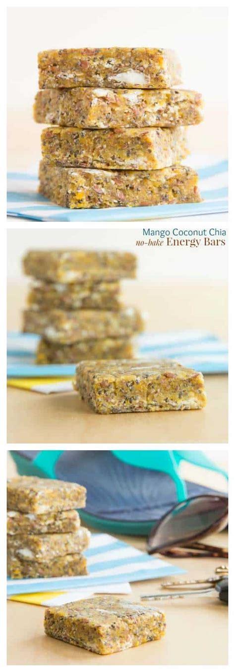 Chia Energy Bar Coconut mango coconut chia no bake energy bars cupcakes kale chips