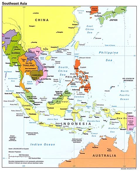 south east asia map southeast asia political map 1995 size