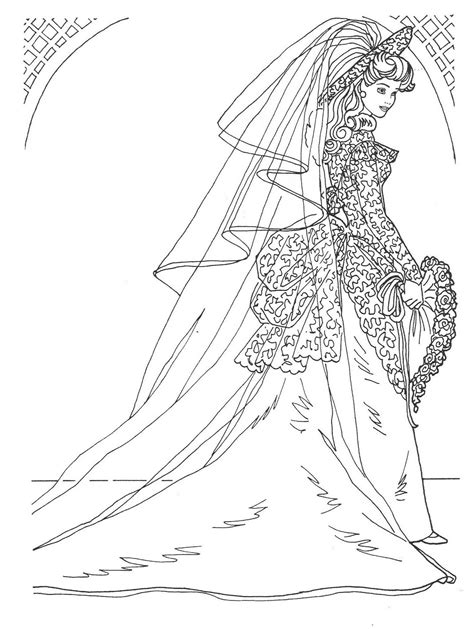 barbie coloring pages wedding day barbie in bridal gown