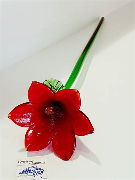 fiori di murano fiore di vetro di murano rosso venturini souvenirs