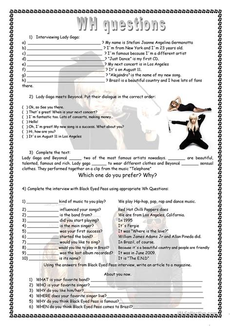 wh questions interviewing gaga worksheet free esl printable worksheets made by teachers