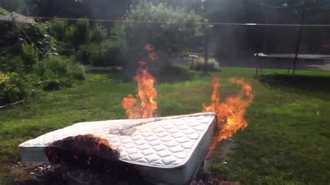 this bed is on fire burning a mattress youtube