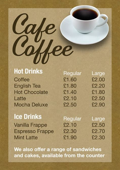 design menu coffee cafe coffee menu design custel design leicester uk