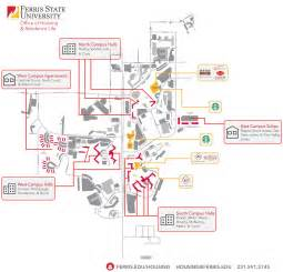 Ferris State Campus Map by Residence Halls Ferris State University