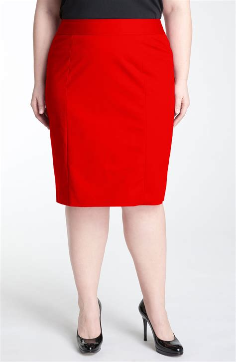 sejour stretch cotton pencil skirt in lava lyst