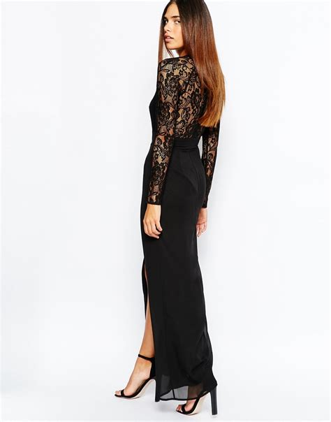 Soluna Maxi lyst elise lace maxi dress with v plunge neck and thigh split in black