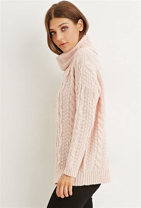knit turtleneck lyst forever 21 cable knit turtleneck sweater in pink