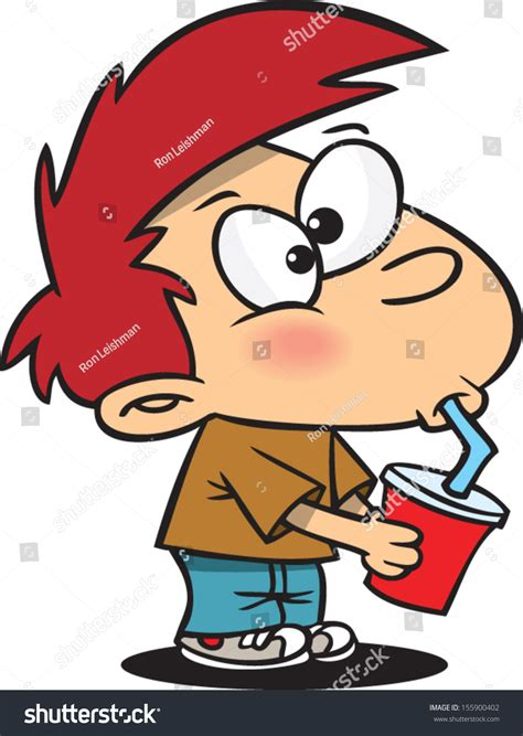 cartoon drinking cartoon boy drinking out straw stock vector 155900402