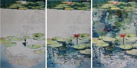 watercolor tutorial painting water nymph echo painting lily pads and reflections on water
