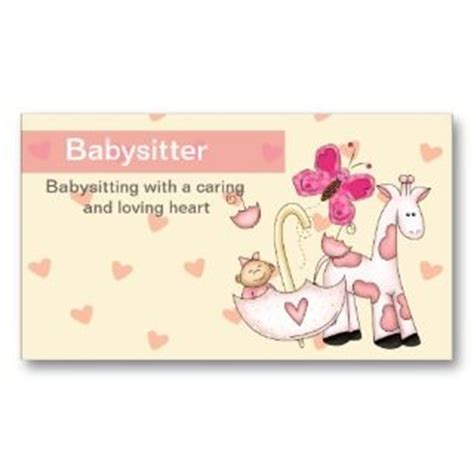 babysitting business cards templates free printable babysitting business cards on popscreen