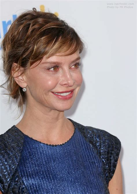 hair cuts pulled away from the face calista flockhart updo that makes it appear that she cut