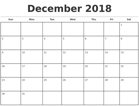 Printable Monthly Calendar December 2018 Yspages Com Monthly Calendar Template 2018