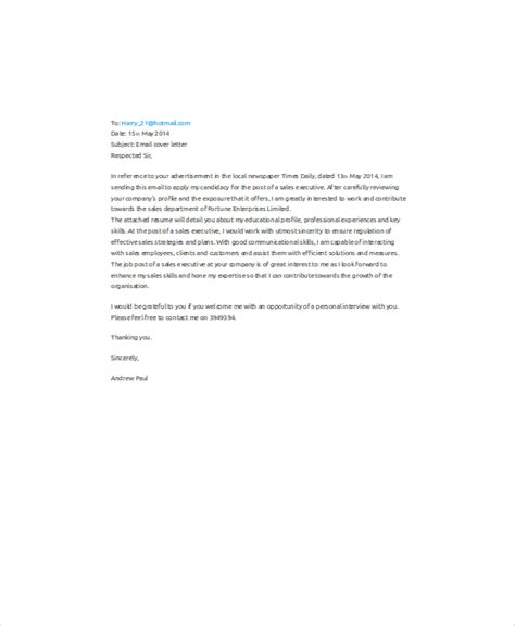 Application Letter Format Via Email 9 Sle Email Application Letters Free Premium Templates