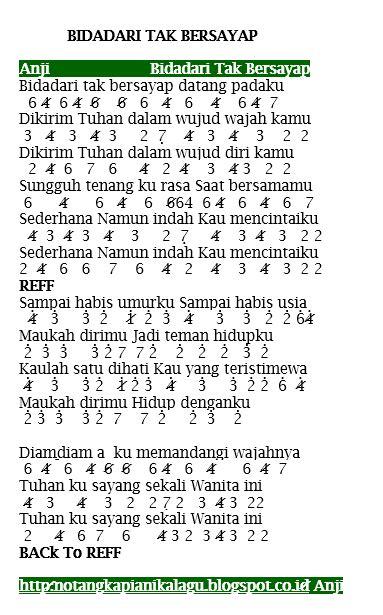 tutorial kunci gitar anji dia not angka pianika lagu anji bidadari tak bersayap