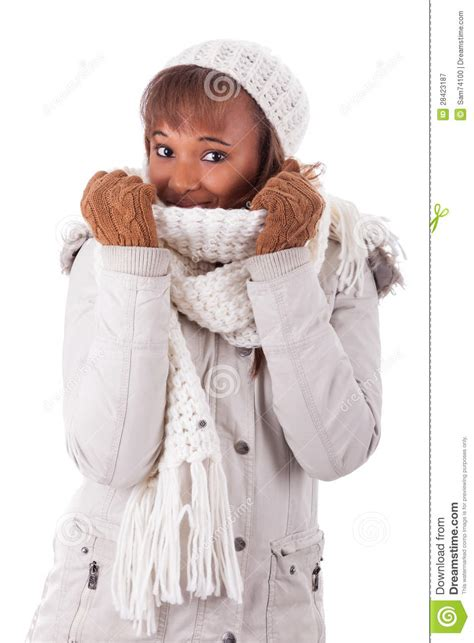 woman in winter clothing young african american woman wearing winter clothes stock