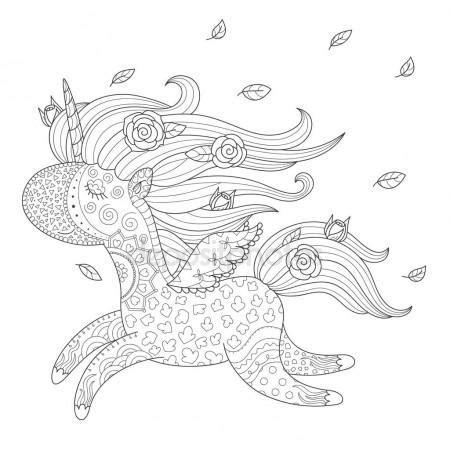 maggie the magic unicorn coloring book books heilige unicorn kleurplaat stockvector 103773362