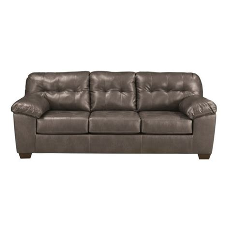 Ashley Furniture Alliston Leather Sofa In Gray 2010238