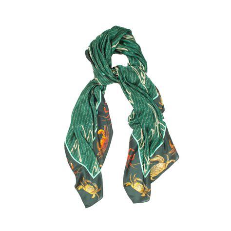 silk satin chiffon script crab designer scarf by