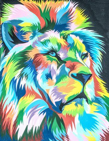 pop arts painting lion picture  ubud painting ubud