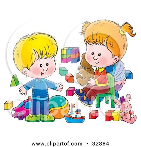 Cat Siblings Wooden Clip clipart illustration of a blue baby boy s nursery room