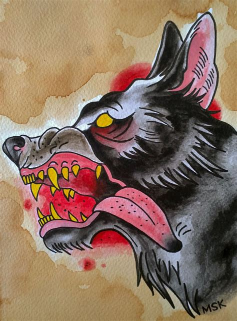 traditional tattoo wolf by psychoead on deviantart