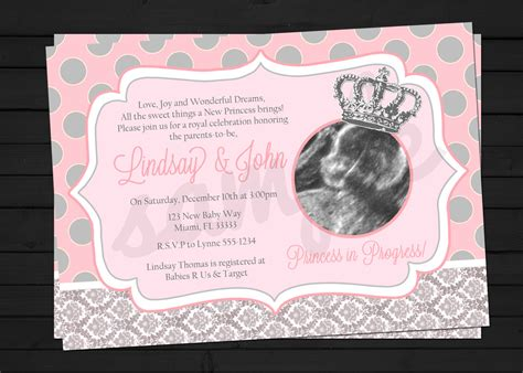 Baby Shower Invitations Princess Theme by Princess In Progress Baby Shower Invitation Digital