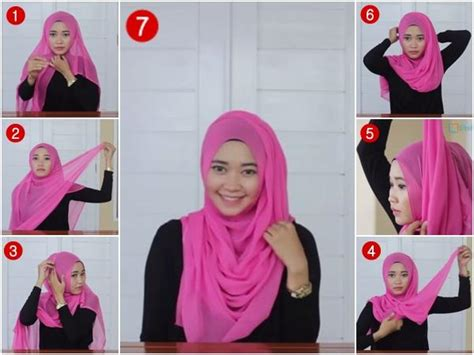 tutorial jilbab segi empat chiffon tutorial hijab segi empat simple casual model jilbab