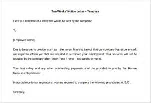 Two Weeks Template by Two Weeks Notice Letter 31 Free Word Pdf Documents