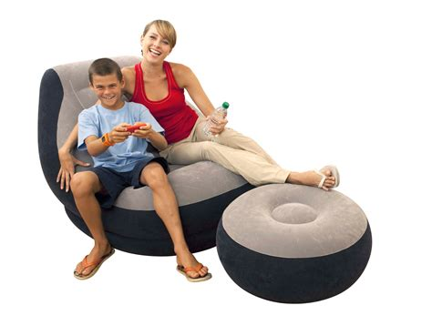 intex inflatable lounge chair with ottoman intex inflatable ultra lounge chair with cup holder and