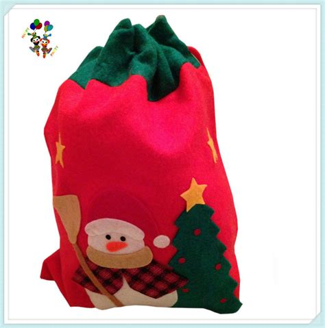 cheap felt xmas party drawstring christmas gift santa