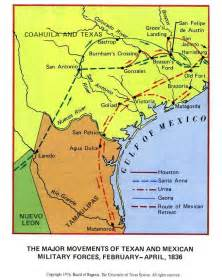 map of 1836 texan and mexican forces in 1836 map
