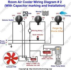 room air cooler wiring diagram 2 with capacitor marking and installation electrical