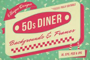 1950s backgrounds and frames for photoshop and illustrator