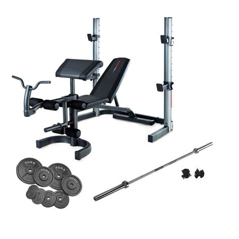 bench and weight set weider 490 olympic bench and 140kg cast iron barbell set