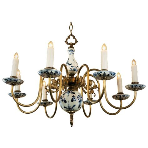 Blue And White Chandelier Blue And White Delft Chandelier Circa 1940 At 1stdibs