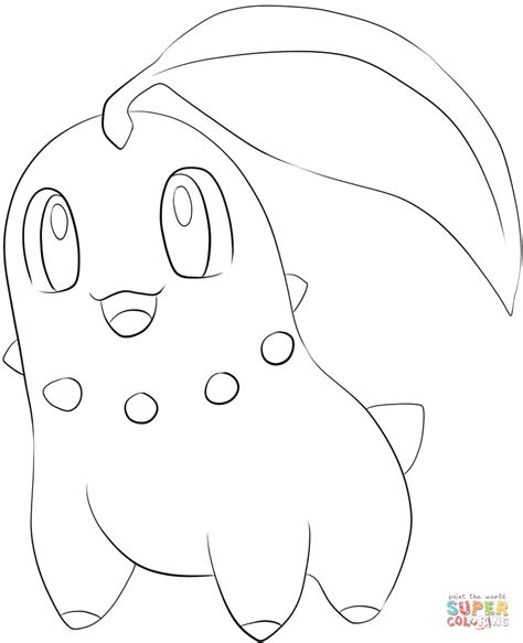 pokemon coloring pages chikorita chikorita coloring page free printable coloring pages
