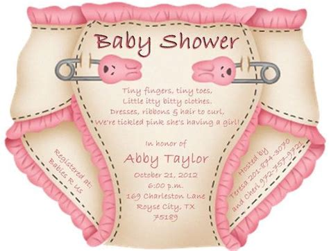 templates for diaper baby shower invitations cute pink diaper baby shower invitation sle