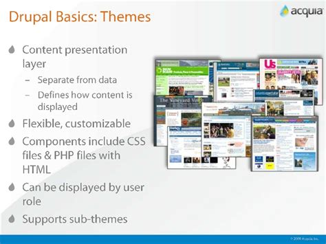 drupal themes definition getting started with drupal and acuqia