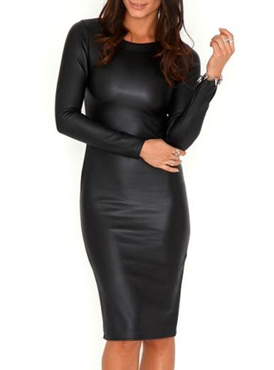 Midy Black leather midi bodycon dress neckline classic